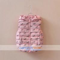 [LOONGBOB]2014 new baby girl vest kids hooded zebras thick warm winter pink fashion coat children outerwear zipper vest