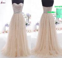 Simple Sequined Sweetheart  Floor-Length Tulle Erose Formal Evening Dress Gown in Lace-up Back