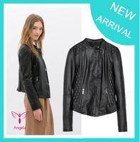 2014 New Fashion Autumn Winter Women Faux Soft Leather Jackets Pu Black Blazer Zippers Long Sleeve Coat Free Shipping XY-024