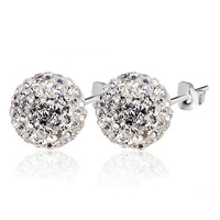 2014 Czech crystal 925 sterling silver earrings super flash 8MM Shambhala ball ornaments, earrings
