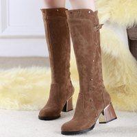 Big size 30-49 New Autumn Winter Designer Hot sale Women's shoes Knee boots Platform Flock Buckle Fashion Drop shipping QH3240