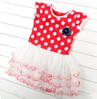 New Children clothing Baby girl Short Sleeves Polka Dot Dress Summer Princess  tutu Dress kids girls Casual Dress B8 SV006413