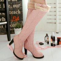 Plus size New 2014 Autumn Winter Hot sale Women's shoes Knee boots Platform High heels Buckle Fashion Casual Velvet QH3241