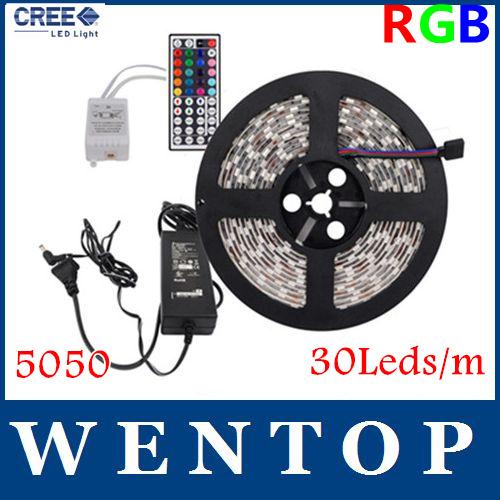 5M 5050 150Leds RGB LED Strips and 44 Key IR Remote Control and 12V 3A Power Supply US/EU/UK/AU 30Leds/m with tracking number(China (Mainland))