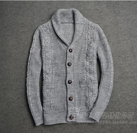 Mens Shawl Collar Cardigan Sweater 2015 New Single-breasted Wool Cardigan Free Shipping(China (Mainland))