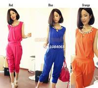 Hot Sale Fashion Pure Color Women's Chiffon Bodysuits Boutique Unique Sleeveless Necklace Jumpsuits #12 SV003468