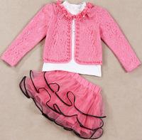 2014 New Fashion Autumn girls clothing sets Elegant Girls Lace flower Coat+Long sleeve T-shirt+Mini Skirt baby girl Spring dress