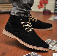 2014 new Nubuck Leather shoes men sneakers autumn men flats korean fashion blue+black men Flats shoes breathable casual shoes(China (Mainland))