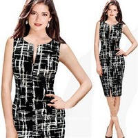 Black White Unique Pattern Women Dress 2014 Retro Summer Party Casual Elegant Sleeveless Zip Tunic Pencil Dress 5Sizes
