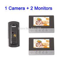 Video Doorphone 1 camera + 2 monitors: 4.3 inch Color Video Door Phone handfree Video Intercom System