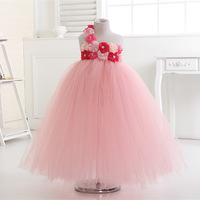 Gorgeous Peach Color Flower Girl Dress With Coral Pink Peals Flower Floor Length Girl Tutu Dress for Wedding Party Photograps