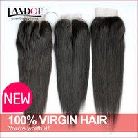 "Virgin Peruvian Lace Closure Straight Lace Base Human Hair Closure Free Part Middle Part 4""*4"" 8-20Inch Cheap Peruvian Closures"