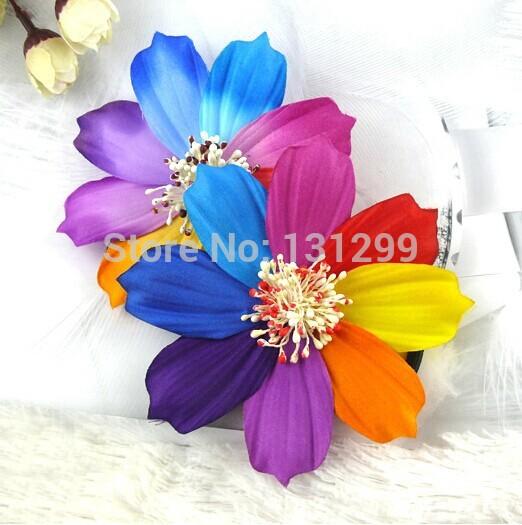 Free Shipping! 30pcs/lot Colorful Elegant Top Quality Rainbow Flower Hair Clip Elastic Band(China (Mainland))
