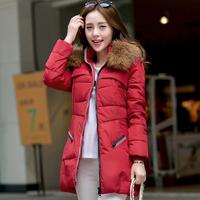New 2014 winter fashion women raccoon fur collar down jacket Female hood down coat Medium long style outerwear plus size Tops