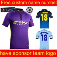New season Top quality KUN AGUERO Manchest cities Jersey 14/15 DZEKO Manchest cities home blue Fans version jersey