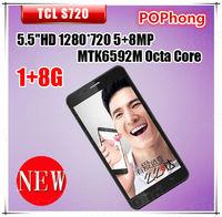 Original TCL S720 Octa Core Smart phone 5.5 Inch IPS Android 4.2 1GB RAM 8GB WCDMA Dual sim 8.0MP camera