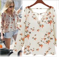 za 2014 new women's casual shirt Europe and America long-sleeved V-neck chiffon shirt printing yellow