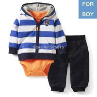 3pcs/set,Lastest 2014 NEW Carter's Baby Boy Stripe Hooded Cardigan Zip Set Infant Jacket Clothing Suit 3,6m, In Store,YW