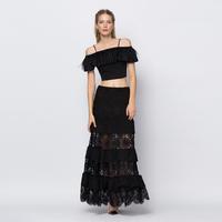 YIGELILA 5205 Latest Women Fashion Black Lace Hollow Out Cake Midi Skirts Free Shipping