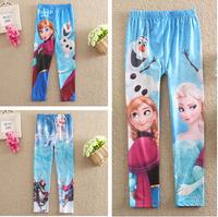 New 2014 Frozen Elsa and Anna girls children legging leggings long pants trousers Girl legging Pencil Pants girl pants