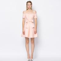 YIGELILA 6629 Latest Women Pink Cute Dot Slash Neck Big Bow Dress Free Shipping
