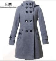 New Women Wool Coat Trench Hoodied Coat Long Jacekt Winter Warm Outdoor Double Breasted Outwear Trench Coat AW14J005