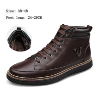 Free shipping !  Fashion Men's Leather Boots Personality Slip plush Resistant  Winter  Shoes, large size shoes,38-48