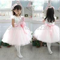 Hot retail new summer girl wedding dress puff dress Bow Kids girls dress,girl party dress free shipping K-123
