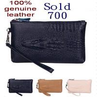 2014 women handbag Women genuine leather clutch wristlet  cosmetic purse crocodile Coin Purse Clutch Evening Bag women wallets