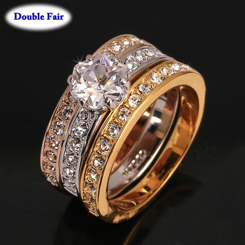 New Classic Designer 3 Round CZ Diamond Paved Engagement Finger ...