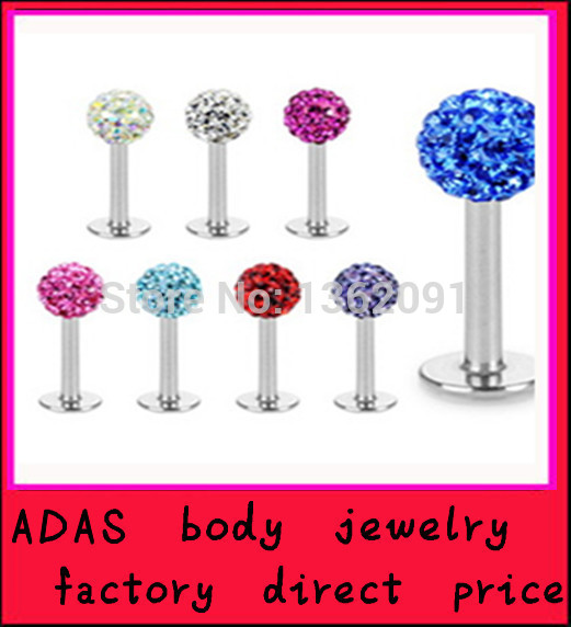 Labret jewelry mix 4 style =$1.68 freight 11 colors choose stainless steel crystal ball lip piercing labret body jewelry(China (Mainland))