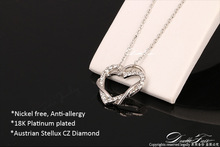 Classic Love Heart Designer CZ Diamond Party Necklaces Pendants 18K Gold Platinum Plated Wedding Jewelry DWN062M