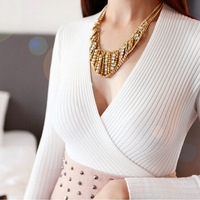 White knitted sweater and pullover jumper deep v neck top short knitwear women ladies female autumn fall winter 2014 new fashion