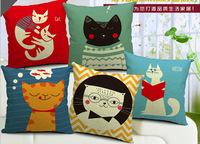decorative cushion covers  High Quality 100% Cotton & Linen Pillow Cover Cushion Case, 18 X 18 Inch,  cat life cushion cover