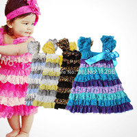 2014 Hot Selling 5 Color Lovely Lace And Chevron Satin Petti Ruffle Dresses For 2-8y Baby Girls Dress Free Shipping