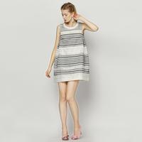 YIGELILA 6694 Latest Women Cute Black White Striped Sleeveless Dress Free Shipping