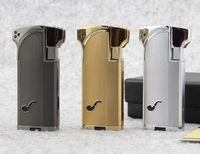 Jobon Metal Jet  Double Flame Cigarette Cigar Smoking Pipe Butane Gas Lighter Tobacco Pipe Lighter