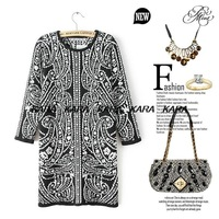 M1647 ladies new winter long sleeve retro Baroque printed knit sweater fashion women dress