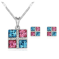 New 2014 Wholesale Crystal Pendant Necklace Stud Earring Christmas Gift Silver Plated Nickel Free Jewelry Sets For Women