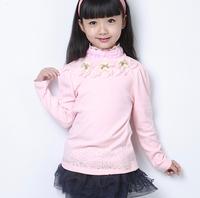 2014 autumn New arrival high quality children outerwear girls  fashion t shirt   long sleeve t shirt Cotton