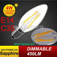 New Design 4W E14 220V AC Dimmable E14 C35 LED Filament Candle Bulbs CRI 80 360 Degree 12 Pcs Per Lot Free Shipping