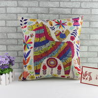 New Christmas Horse pattern cotton linen Europe pillow cushions customized animation soft cloth decorated cushion case 45*45cm