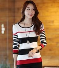 Nuevos 2014 del otoño del resorte mujeres de Corea Delgado Striped Sweater Pullover Camisetas Señora Casual Suéteres largos de la manga del envío rápido SW2291(China (Mainland))