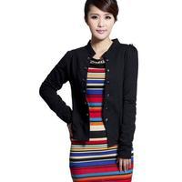Korean Style Lady Fashion Cotton Jackets Big Size L-4XL Autumn Spring Clothing Women Casual Cardigans Blue / Black
