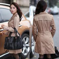 Korean Elegant Women Fashion Solid Color Trench Plus Size M-4XL Epaulette & Belt Slim Design Lady Long Outerwear & Coat