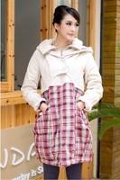 Good Plaid Print Women Fashion Coat  Size S-L Charm Lady Warm Clothing Hooded Winter Jackets & Outwear