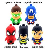AC11 Hot Avengers  Spider super man Cartoon Model 2.0 usb pen drives 4GB 8GB 16GB 32GB  memory flash drive Stick Toy Gift