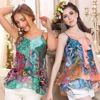 2014 Summer New Women Chiffon Halter Top Ruched Decoration Tops Tees Irregular Corals Print Camisole Camiseta Regata Feminina