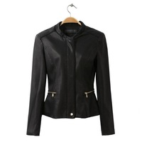 2014 Free Shipping  Europe and America Leather Coat Lady Slim Outerwear Short Motorcycle PU Leather Jackets Women Black  #718006