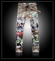 2014 Colorful Handsome  European Style Men Slim Jeans Drawing Leopard Print High Quality Print Cotton Slim Man Pants